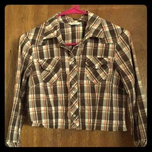 Sweet retro plaid cutoff button up small shirt